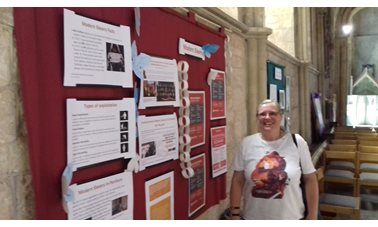 Pershore Abbey had an interesting board about Modern Day Slavery - Photographer K Mawer