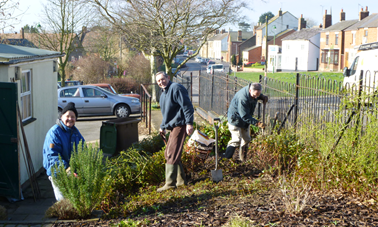 BVGA volunteers start the spring tidying of The Jubilee Garden